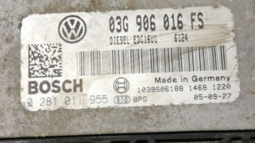 ECU calculator VW Golf 5 1.9 TDI cod 0281011955