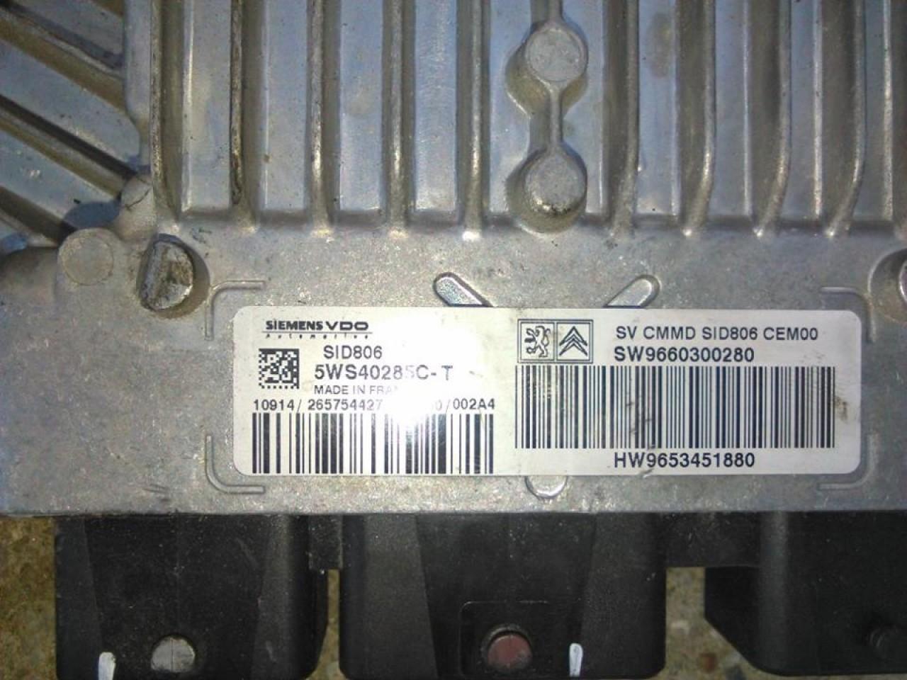 Ecu cod 5ws4028c-t 9660300280 citroen c3 1.4 hdi injectie simenes