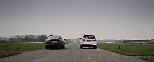 Electric vs hibrid: Cursa cu surprize intre Tesla Model S si Porsche Cayenne S