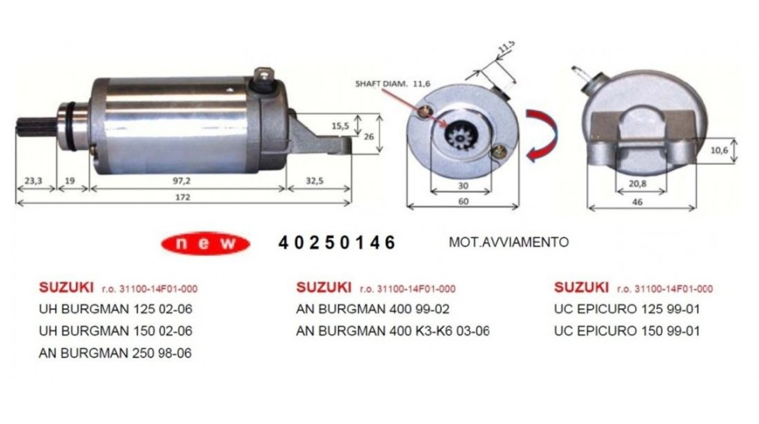 Electromotor Suzuki Epicuro 125 150