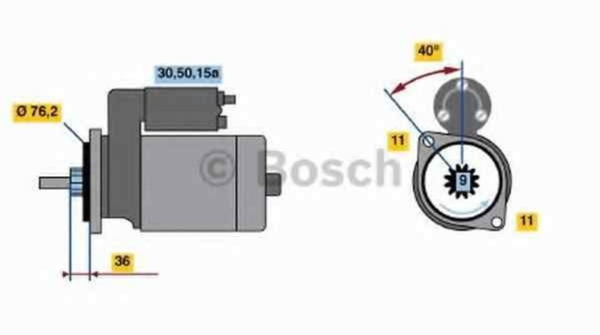 Electromotor VW SCIROCCO (53B) BOSCH 0 986 018 200