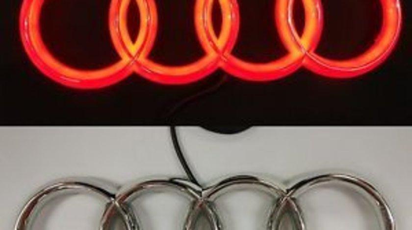 Emblema led rosu Audi 27cm grila fata logo a4 A5 a6 a8 q3 q5 q7 sigla auto