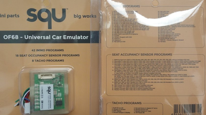 Emulator SQU auto universal - IMMO, Tacho, Senzor scaun, airbag, ESL, EZS