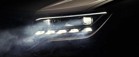 Este ultima imagine de dinaintea lansarii oficiale. Volkswagen ne arata farurile noului Touareg