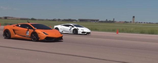 Esti curios sa vezi cum arata o liniuta de 4.000 de cai putere intre doua Lamborghini-uri?