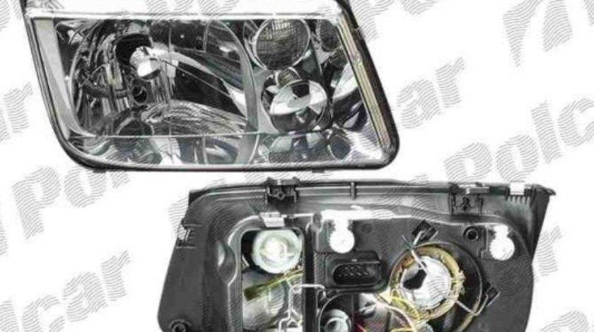 Far VW Bora 10.1998-11.2005 DJ AUTO partea Stanga, fara lampa ceata , tip bec H4, reglare mecanic/electric, fara motoras
