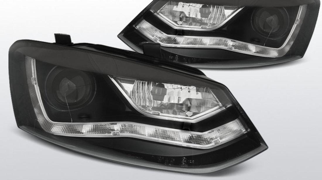 Far VW POLO 6R 2009-03.2014 cu DAYLIGHT, culoare negru