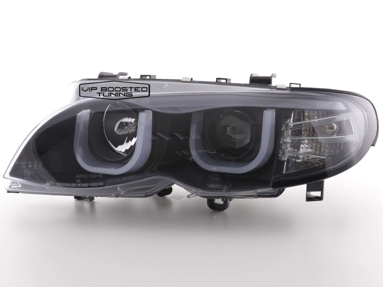 Faruri Angel Eyes 3D cu lupe BMW E46 FACELIFT (2002-2005) Negre