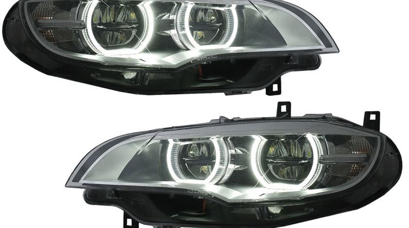 Faruri Angel Eyes 3D Dual Rims LED DRL compatibil cu BMW X6 E71 (08-12)