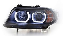 Faruri Angel Eyes 3D LED BMW Seria 3 E90/E91 (2005...