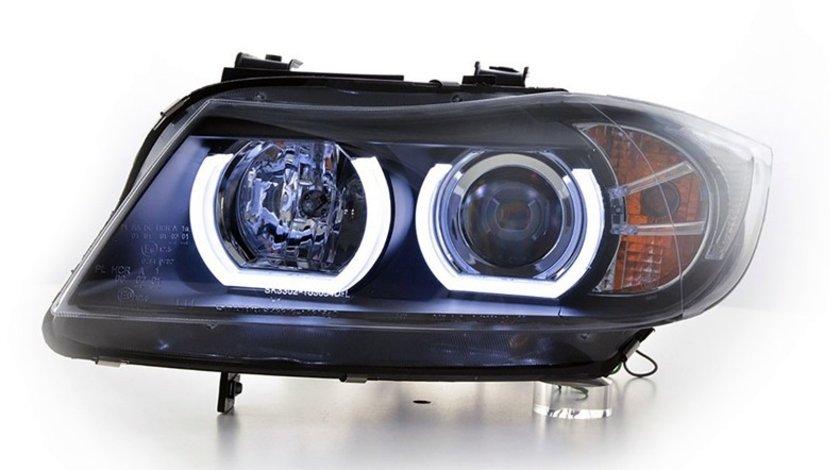 Faruri Angel Eyes 3D LED BMW Seria 3 E90/E91 (2005-2011) Black