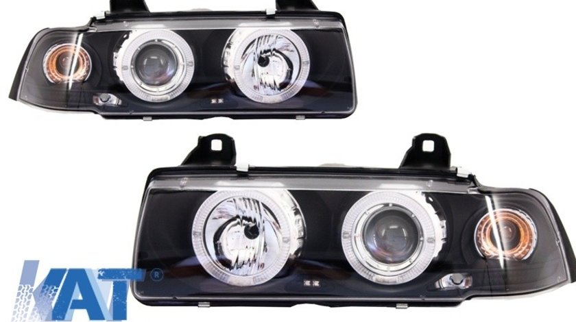 Faruri Angel Eyes compatibil cu BMW Seria 3 E36 2D Coupe/Cabrio (1992-1997) Black Edition