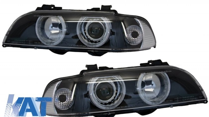 Faruri Angel Eyes compatibil cu BMW Seria 5 E39 (1996-2003) Facelift LCI Design Black Edition