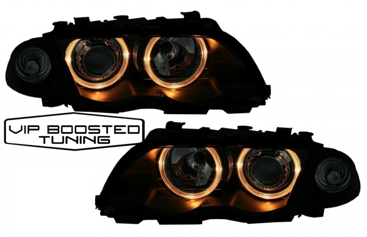 Faruri Angel Eyes DEPO cu lupe BMW E46 SEDAN (05.1998-08.2001) Negre