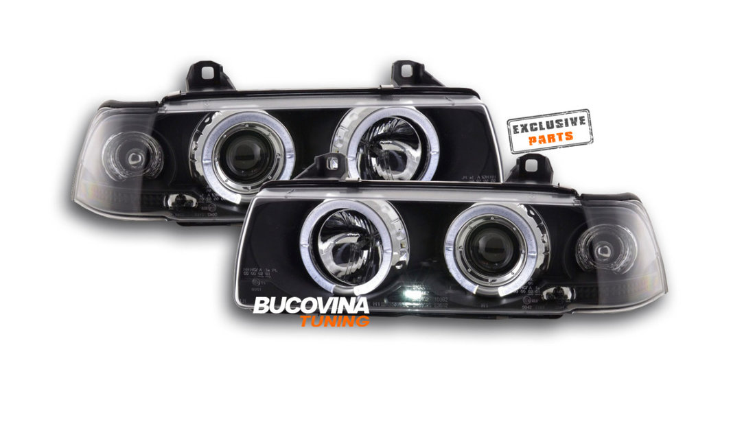FARURI ANGEL EYES LED BMW E36 LIMOUSINE (92-98) FUNDAL NEGRU