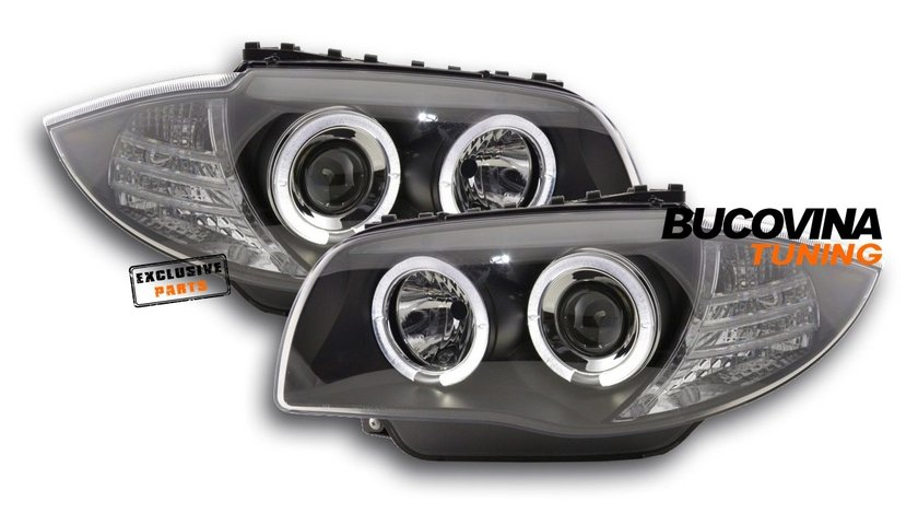 FARURI ANGEL EYES LED BMW SERIA 1 E87/ E81/ E82/ E88 (04-11) BLACK