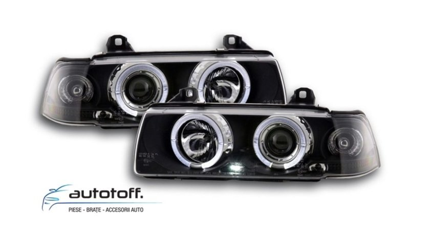 Faruri Angel Eyes LED BMW Seria 3 E36 (1992-1998) Black