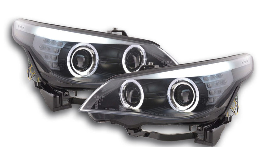 Faruri Angel Eyes LED BMW Seria 5 E60/ E61 (03-07) Xenon