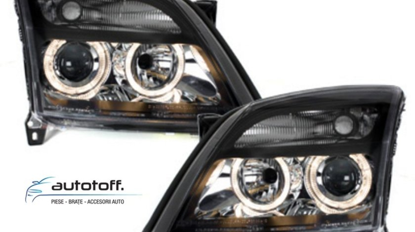 Faruri Angel Eyes Opel Vectra C (2002-2005) Fundal Negru