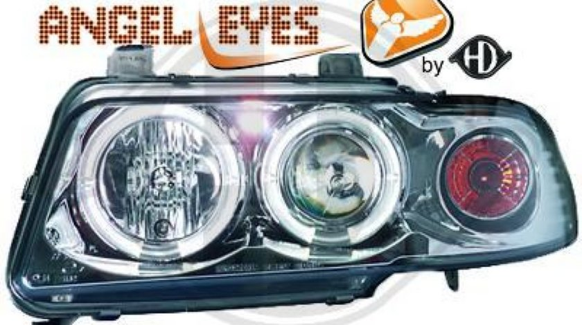Faruri Angel Eyes Pentru Audi A4 B5 Fundal Crom Sau Negru