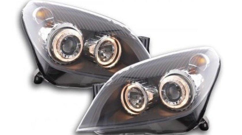 Faruri Angel Eyes pentru Opel Astra H fond negru