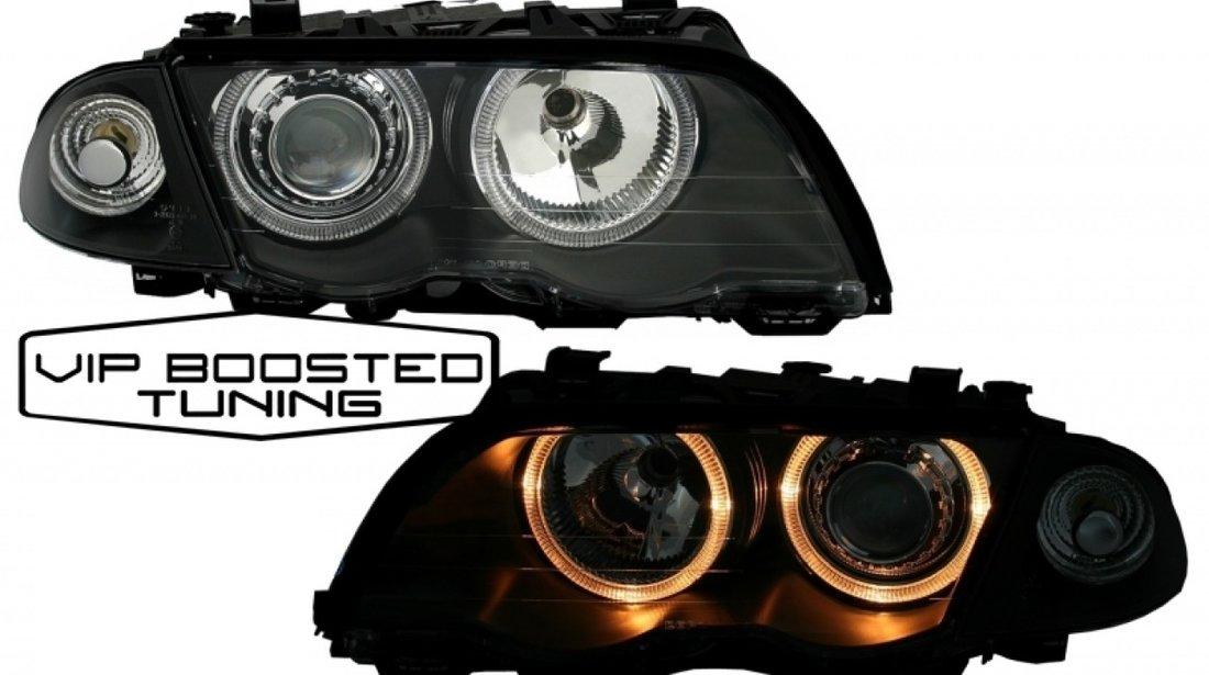 Faruri Angel Eyes tuning cu lupe BMW E46 (05.1998-08.2001) Negre