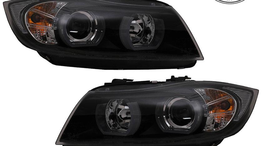 Faruri Angel Eyes Xenon U-Led 3D BMW Seria 3 E90/ E91 (05-08) Negru