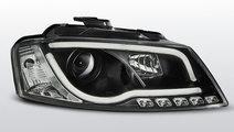 Faruri Audi A3 8P 08-12 Negru TUBE LIGHT cu DRL