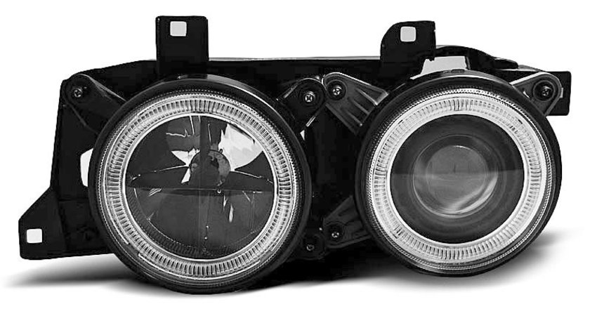 Faruri BMW E32 / E34 Angel eyes Negru