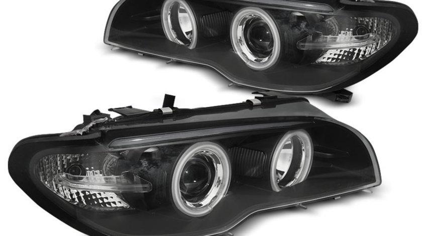 Faruri BMW E46 Coupe Angel eyes CCFL Xenon Negru