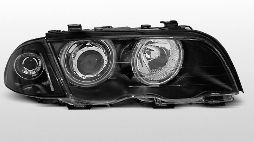 Faruri BMW E46 Sedan Touring 1995-2001 Angel eyes Negru