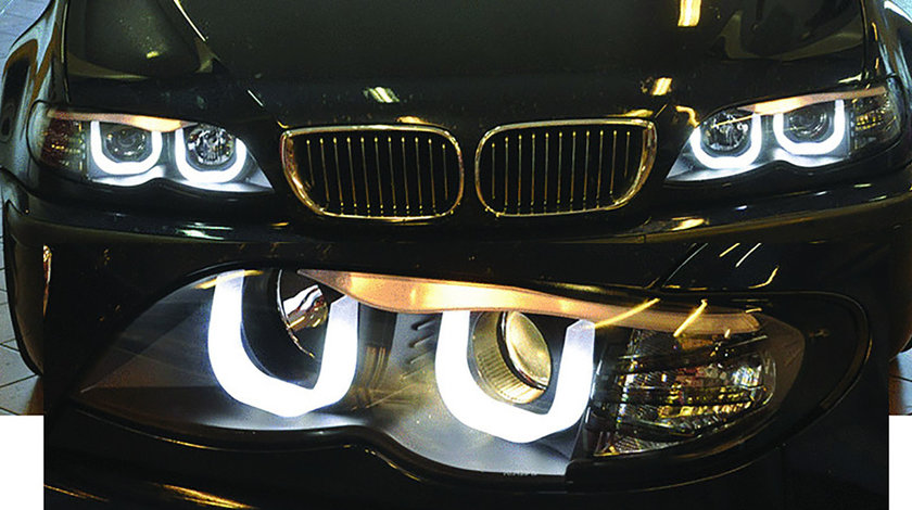 Faruri BMW E46 seria 3 Dragon Light - Angel eyes 3D