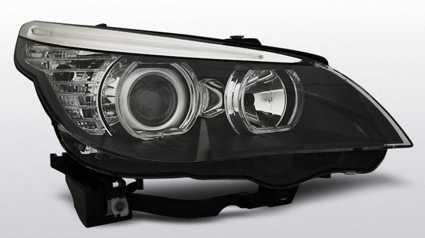 Faruri BMW E60 / E61 2003-2007 Angel eyes Negru