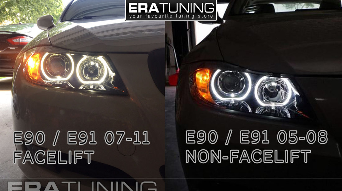 Faruri BMW E90/E91 Seria 3 2005-2008 Angel Eyes Negru DEPO CALITATEA 1