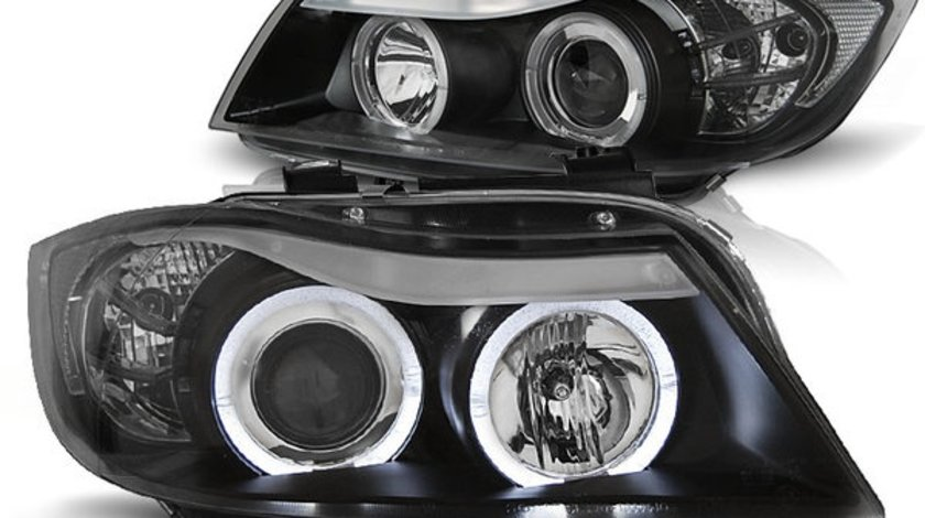 Faruri Bmw E90 fundal negru