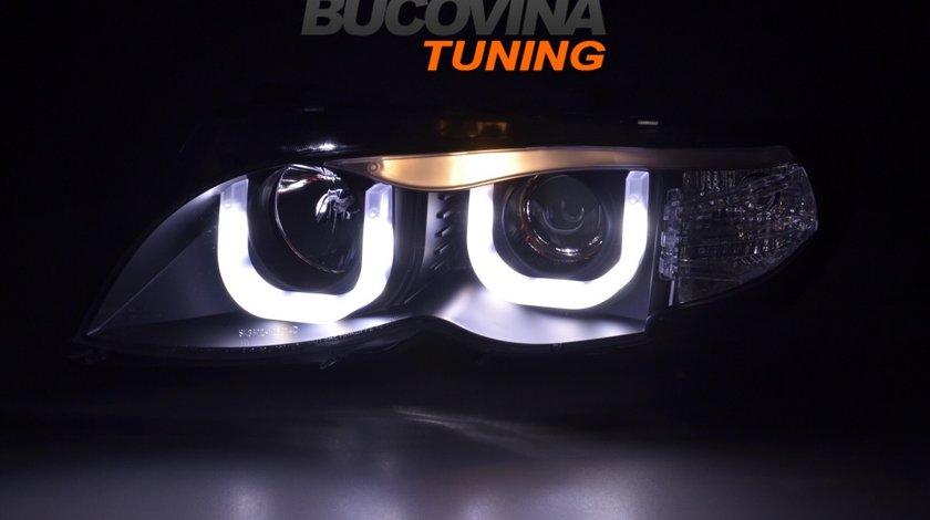 FARURI BMW SERIA 3 E46 (01-05) 4D DRAGON LIGHT TYPE U - BLACK DESIGN
