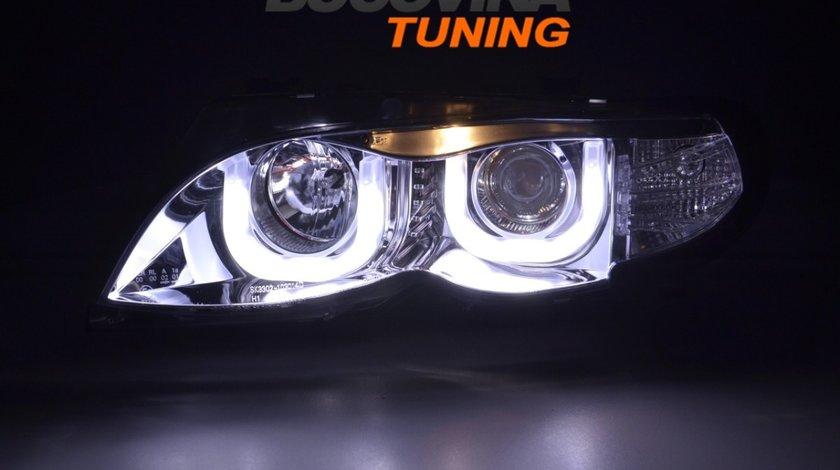 FARURI BMW SERIA 3 E46 (01-05) 4D DRAGON LIGHT TYPE U - CROM DESIGN