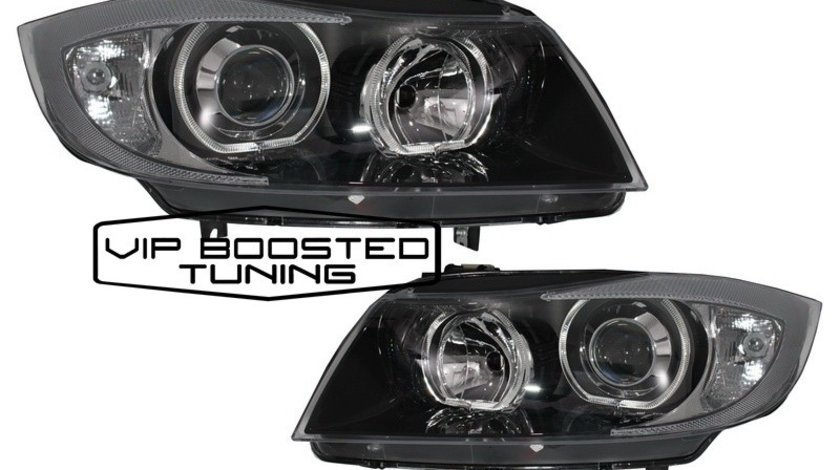 Faruri BMW seria 3 E90 E91 Sedan Touring (2005~2008) Angel Eyes led Negre