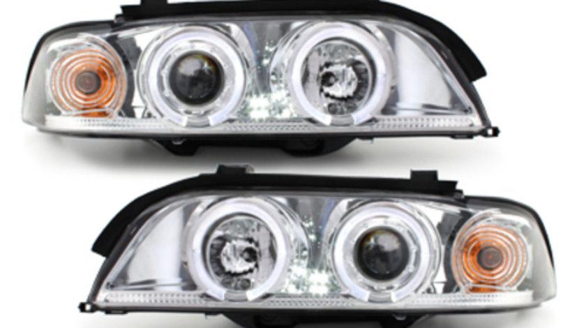 Faruri BMW Seria 5 E39 95-00 Angel Eyes crom