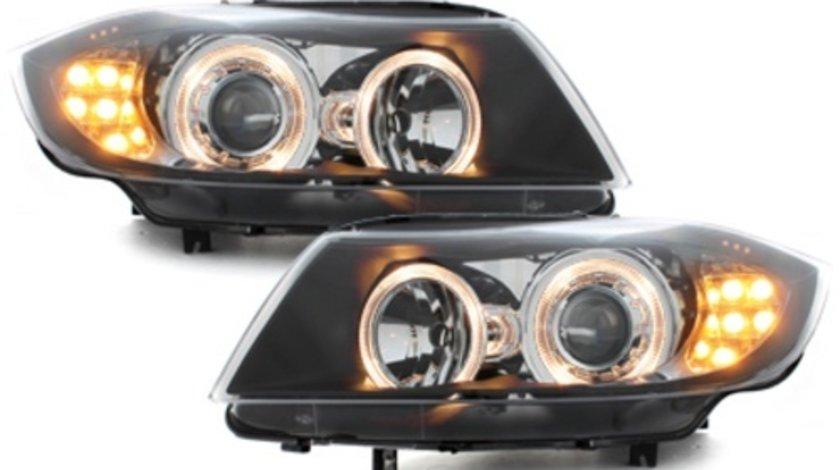 Faruri compatibil cu BMW E90 pozitie angeleyes LED semnalnegru