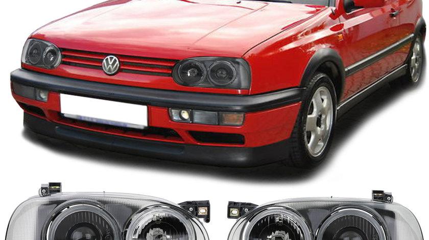 Faruri cu lupa VW Golf 3 Hella Twin look Fumurii