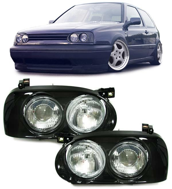 Faruri cu lupa VW Golf 3 Hella Twin look Negru