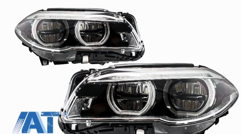 Faruri Full LED Angel Eyes compatibil cu BMW Seria 5 F10 F11 LCI (2014-2017)