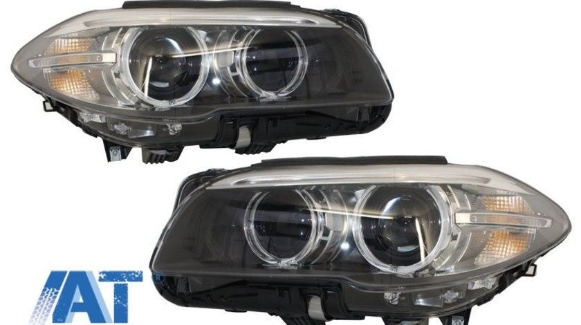 Faruri Full LED Bi-Xenon Angel Eyes compatibil cu BMW 5 Series F10/F11 (2011-2013) LCI Facelift Look