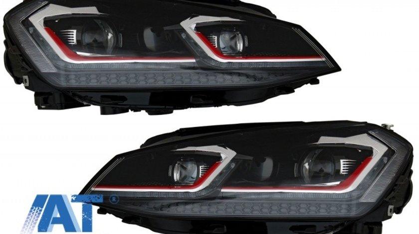 Faruri LED Bi-xenon Look compatibil cu VW Golf 7 VII (2012-2017) Facelift G7.5 GTI Design cu Semnal Dinamic