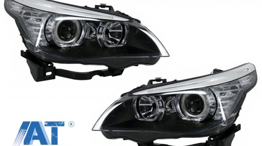 Faruri LED Dayline & Angel Eyes compatibil cu BMW Seria 5 E60 E61 (2003-2007) LCI Design