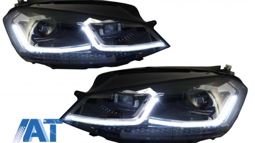 Faruri LED RHD compatibil cu VW Golf 7 VII (2012-2017) Facelift G7.5 R Line Look cu Semnal Dinamic