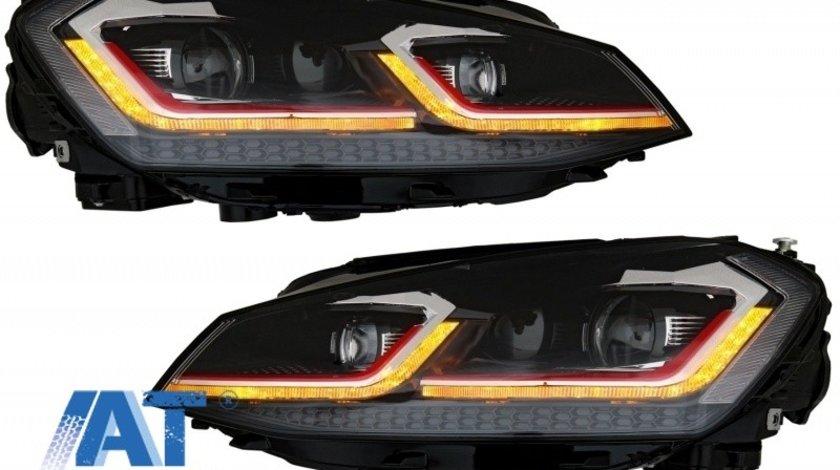 Faruri LED RHD compatibil cu VW Golf 7 VII (2012-2017) Facelift G7.5 GTI Look cu Semnal Dinamic