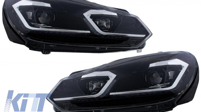 Faruri LED VW Golf 6 VI (2008-2013) Facelift G7.5 Look Silver Semnalizare Secventiala KTX2-HLVWG6FS