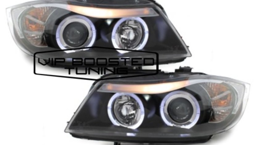 Faruri TUNING BMW seria 3 E90 E91 Sedan Touring (2005~2008) Angel Eyes led Negre